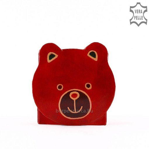 Minőségi, valódi bőr alapanyagból készült macis formával gyerek pénztárca kézzel festett piros színben, kiváló aprópénztartó.