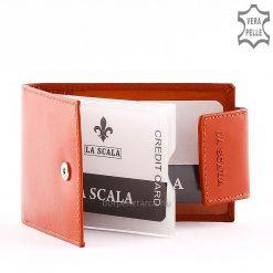 Minőségi bőrbőlkészült fekvő tipusú La Scala márkás, exkluzív bőr kártyatartó, hozzá illő, stílusos díszdobozos kivitelben.