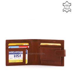 Közkedvelt kialakítású és klasszikus fazonban készült ideális férfi pénztárca minőségi, puha tapintású barna színű marhabőrből elkészítve.