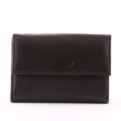 Fekete színű valódi bőr felhasználásával készült kis méretű női pénztárca, mely nem csak jól néz ki, de igazán praktikus kialakítású is!