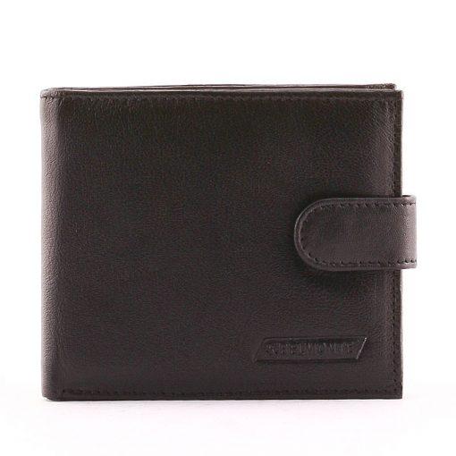 Minőségi valódi bőrből készült fekete színű klasszikus stílusjegyekkel készített bőr férfi pénztárca az S. Belmonte termékcsaládtól.