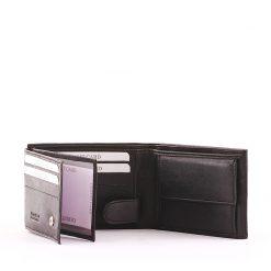 Minőségi bőrből készült kis méretű praktikus valódi bőr férfi pénztárca, fekete színben S. Belmonte márkacsaládtól. Garanciával biztosítva!