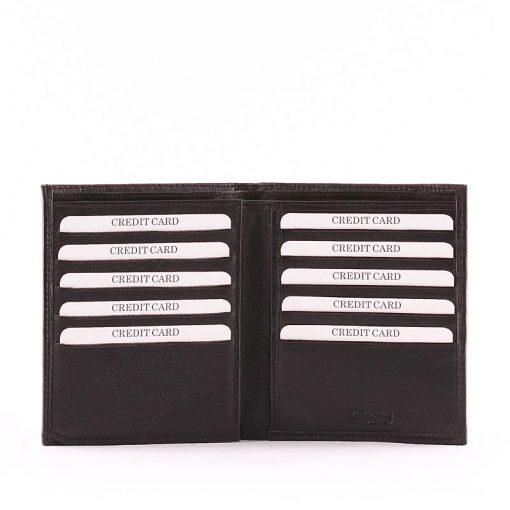 Valódi bőrből készült Sylvia Belmonte fekete színű, álló minőségi irattartó pénztárca rendkívül puha tapintású nappa bőrből.