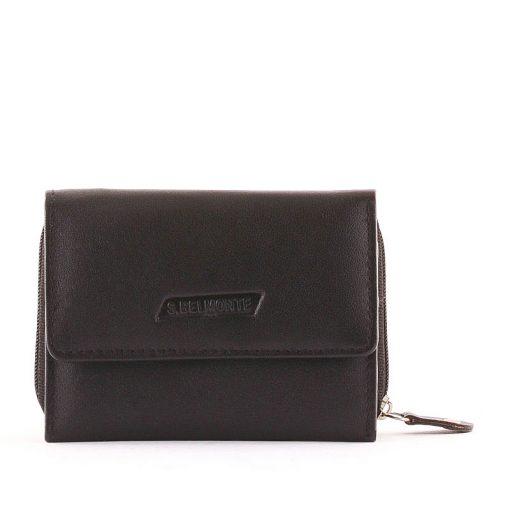Praktikus, kis méretű, egyedi megjelenésű, valódi bőr női pénztárca S. Belmonte logóval díszített termék. Okos elrendezésű tárca.