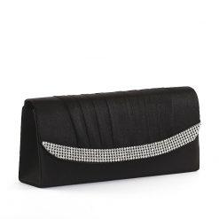 Szatén anyagú Sylvia Belmonte márkacsaládba tartozó, elegáns fekete színű minőségi női alkalmi táska, a különleges alkalmakra.