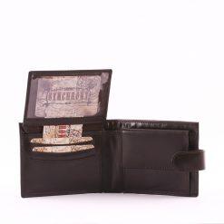 Minőségi bőrből készült barna és fekete színben Synchrony márkás praktikus kis méretű, valódi bőr férfi pénztárca átkapcsoló füllel zárható.