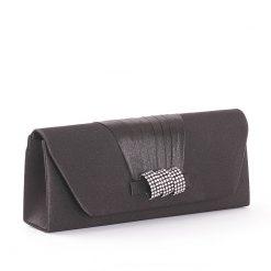 Dekoratív szatén borítású Sylvia Belmonte női alkalmi táska elegáns kivitelben fekete és bézs színekben.Mágneses kapoccsal zárható fedél.