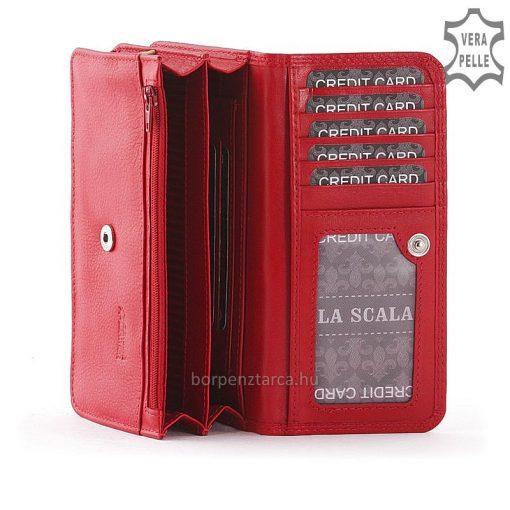 Minőségi, puha valódi bőr La Scala prémium női pénztárca, melynek nagy méretű, klasszikus kialakítású belseje hozzájárul a tárca egyediségéhez