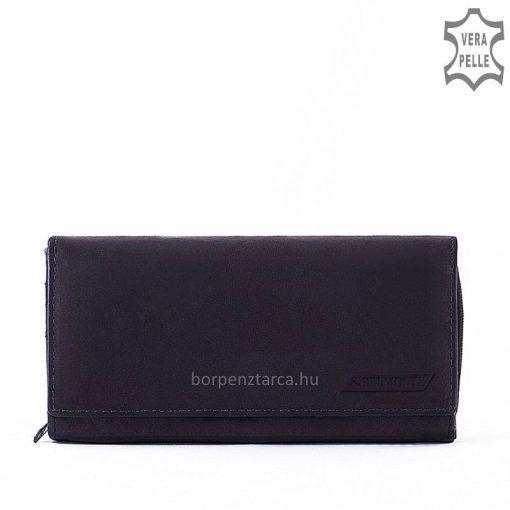 Minőségi valódi bőrből készült brifkó fazonú női bőr pénztárca, amely fekete színben készült S.Belmonte márkás termék. Patenttal zárható.
