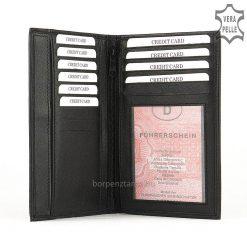 Kézbeillő, kiváló minőségű, hagyományosan praktikus vonalat követő nagyméretű, fekete színű irattartó tárca. Ajándéknak is nagyszerű!