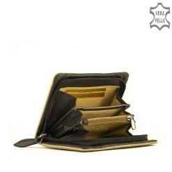 Rendkívül finom valódi nappa bőrből készült luxus kategóriájú, nagy méretű trendi divat női bőr pénztárca, különleges külsővel.