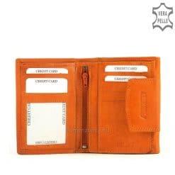 Finom tapintású valódi bőrből készült, pink és narancssárga színben elérhető, kis méretű bőr női pénztárca. Praktikus belső elrendezéssel.