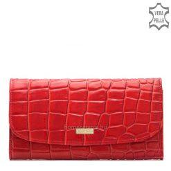 Fényes croco nyomott marhabőrből készült prémium kategóriás piros női bőr pénztárca, fedelén Sylvia Belmonte fém logóval, díszdobozban.