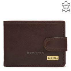 Kiváló, minőségi valódi bőrbőlkészültLA SCALA fém logós elegáns férfi bőr pénztárca, amelyet nagyon magas gyártási minőség jellemez.