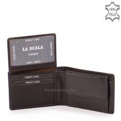 Fekete és barna minőségi, tartós valódi bőrből készült férfi bőr pénztárca amely igazán praktikus kialakítású. Különböző színű csíkbetéttel.