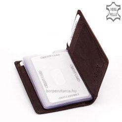 Minőségi precíz munkával valódi bőrből készült álló kialakítású bőr kártyatartó, divatos külsővel és praktikus belsővel. Kedvező áron.
