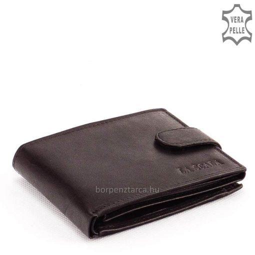 Kis méretű, klasszikus megjelenésű férfi bőr pénztárca külső patentos átkapcsolóval és márkás La Scala felirattal fekete és mélybarna színben.