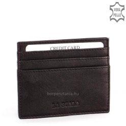 Modern kivitelű, minimál stílusú, fekete színű valódi bőr kártyatartó LA SCALA márkás logóval díszítve. Nézze meg kínálatunkat!