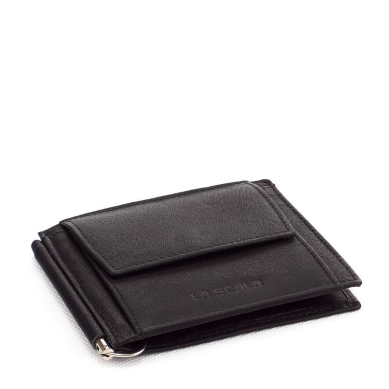 Puha tapintású, igazi nappa bőrből készült fekete dollártárca, mely La Scala termékcsaládunk egyik legnépszerűbb SLIM pénztárca tagja.