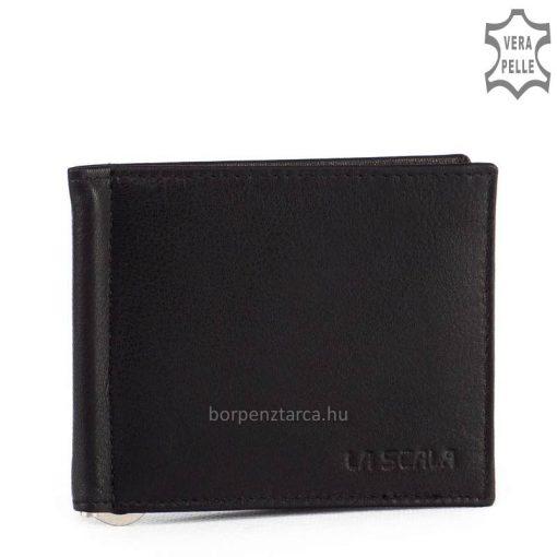 Puha tapintású, igazi nappa bőrből készült fekete bőr dollártárca, mely La Scala termékcsaládunk egyik legnépszerűbb SLIM pénztárca tagja.