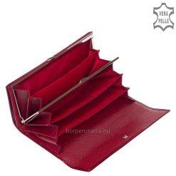 Minőségi, piros, fényes lakk, croco bőrbőlkészült, elegáns megjelenésű és dekoratív női pénztárca, igényes, fém NICOLE márkajelzéssel.