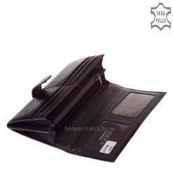 Selyemfényű valódi bőrből készült nagy méretű elegáns fekete bőr női pénztárca, fedelén igényes fém díszítés LOREN márkanévvel.