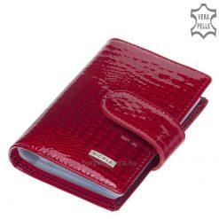 Minőségi fényes piros lakk bőrből készült exkluzív croco női bőr kártyatartó, fedelén igényes, fém NICOLE márkás logóval.