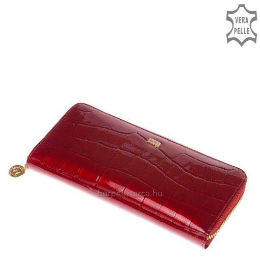 Exkluzív, nagy méretű női bőr pénztárca minőségi bőrből, amely extravagáns piros színű kroko mintás felületi dizájnnal rendelkezik.