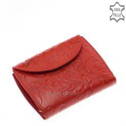 Kis méretű női bőr pénztárca valódi bőrből, felületén egyedi mintás dekoratív inda- és virágnyomattal. Praktikus belső elrendezéssel.