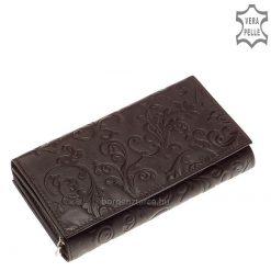 Mintás, valódi bőr női pénztárca, felületén egyedi dekoratív inda- és virágnyomattal, mely még különlegesebbé varázsolja a tárca kinézetét.