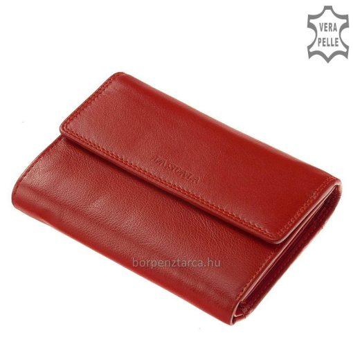Praktikus női divat pénztárca, patentos fedelén LA SCALA felirattal, bőre kiváló minőségű valódi marha bőr. Kézbe illő modell.