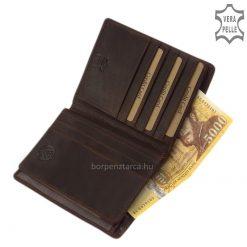 Vintage hatású, GREEN DEED márkájú, kártyatartós, nagy méretű barna színű, férfi bőr irattartó pénztárca, díszdobozos kivitelben.