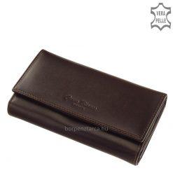 Klasszikus megjelenésű, prémium minőségű, selyemfényű bőr, nagy méretű női pénztárca díszdobozba csomagolva. Corvo Bianco Luxury márkás.