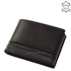 Természetes karakterű, elegáns selyemfényű, valódi minőségi bőrből fekete és barna színben készült prémium márkás férfi bőr pénztárca.