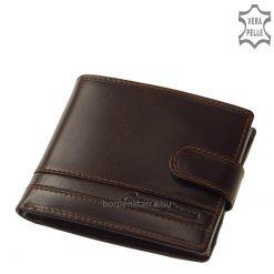 CORVO BIANCO, klasszikus kialakítású férfi pénztárca elegáns barna és fekete színben, selyemfényű, valódi bőrből, minőségi munkával legyártva