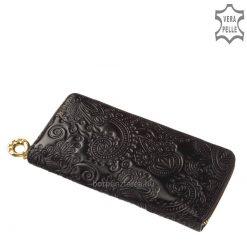 Exkluzív megjelenésű nagyméretű divat női bőr pénztárca, rendkívül szép virág mintás benyomattal, amely egyedi hatást biztosít.