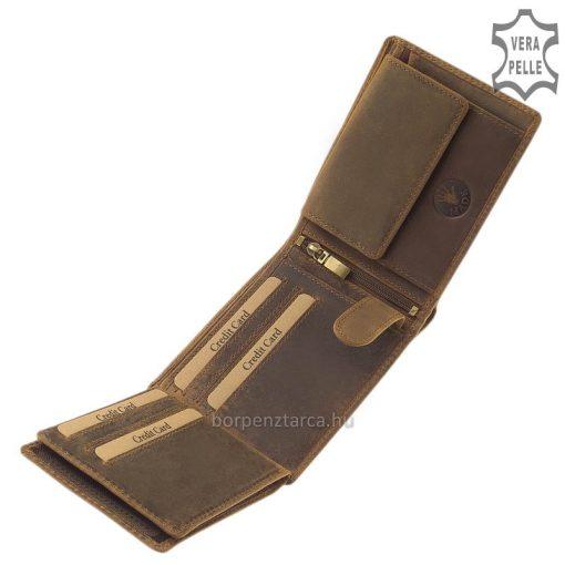 Ajándékba is kiváló választás, természetes, valódi bőrből készült vintage férfi pénztárca, mintás, természetes barna színű külsővel.