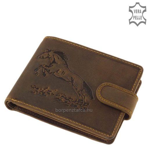Különleges, rusztikus kikészítésű bőrből készült, barna színárnyalatú lovas férfi bőr pénztárca GreenDeed márkanév alatt készült ló mintával.