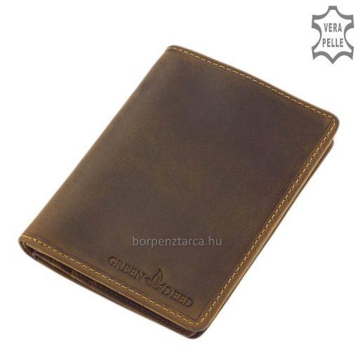 Prémium GreenDeed márkájú, álló nagy méretű irattartó férfi pénztárca, kiváló minőségű tartós barna bőrből, díszdobozban forgalmazva.
