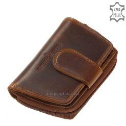 Kis méretű, szép vonalvezetésű, de egyben vagány barna színű, valódi bőrnői pénztárca, természetes bőrből a natúr stílus híveinek.