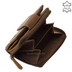 GreenDeed bőr női pénztárca rusztikus hatású, barna színű valódi bőrből, kézbe illő kis méretű modell amely kényelmesen használható.