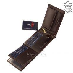 Valódi bőrből készült minőségi, elegáns férfi pénztárca, fedelén végigfutó dekoratív kidolgozású klasszikus csíklogó teszi egyedivé.