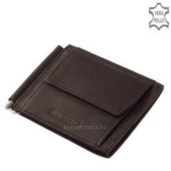 Slim vintage típusú, fekete színű, aprópénztartós férfi bőr dollártárca avagy dollár pénztárca valódi kiváló minőségű bőrből.