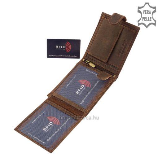 SKYFLYER márkájú, természetes karakterű, valódi minőségi bőrből készült egyedi megjelenésű barna férfi bőr pénztárca RFID védelemmel.