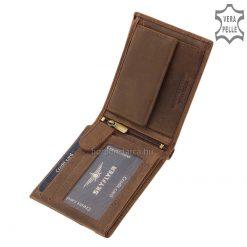 A minőségi bőr természetes szépségét megőrző eljárással készült valódi bőr férfi pénztárca díszdobozban, sportos stílusú SKYFLYER felirattal.