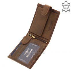 Sportos kialakítású bőr férfi pénztárca ajándék díszdobozban, mely stílusos vintage, valódi marhabőrből készült. Gyári garanciával!