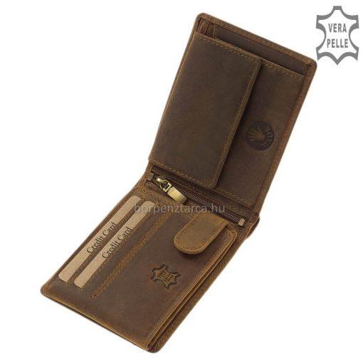 GreenDeed barna bőr pénztárca, minőségi valódi bőrből kifejezetten férfi vásárlóink számára, klasszikus formájú kényelmes modell.