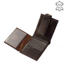 Férfi valódi bőr pénztárca, amelynek fedele patenttal záródó minőségi bőrpánttal rendelkezik és elegáns körbevarrt csíkdísz látható rajta.