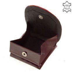 Valódi bőr felhasználásával készült bagoly formájú gyerek bőr pénztárca kézzel festett külsővel, piros és barna színösszeállításban.