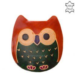 Valódi bőr felhasználásával készült bagoly formájú gyerek bőr pénztárca kézzel festett külsővel, narancssárga színösszeállításban.